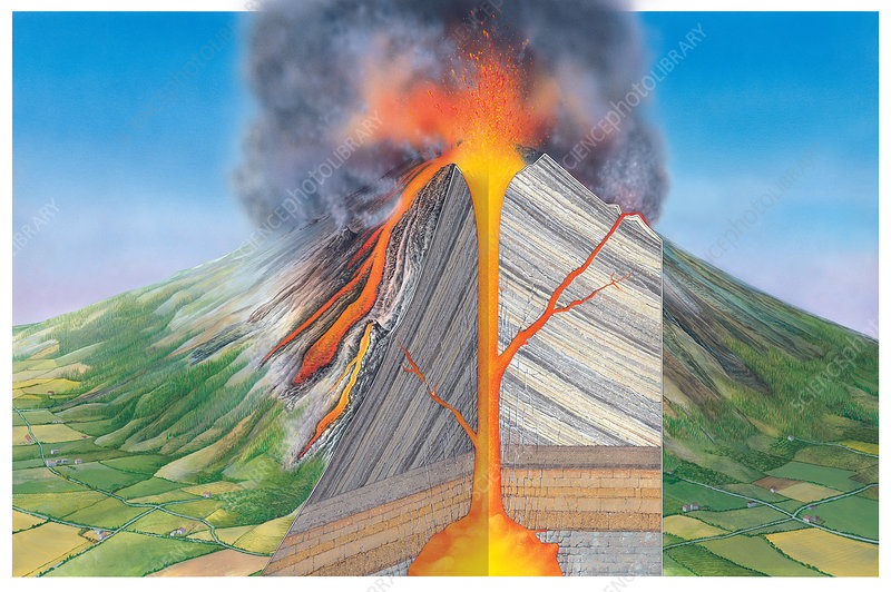 Stratovolcano  Internal Structure - Stock Image E380  0747