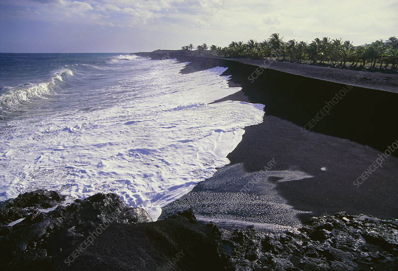 Black sand beach from lava fragments