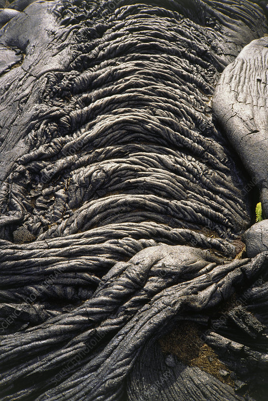 Patterns in cooled pahoehoe lava, Kilauea, Hawaii