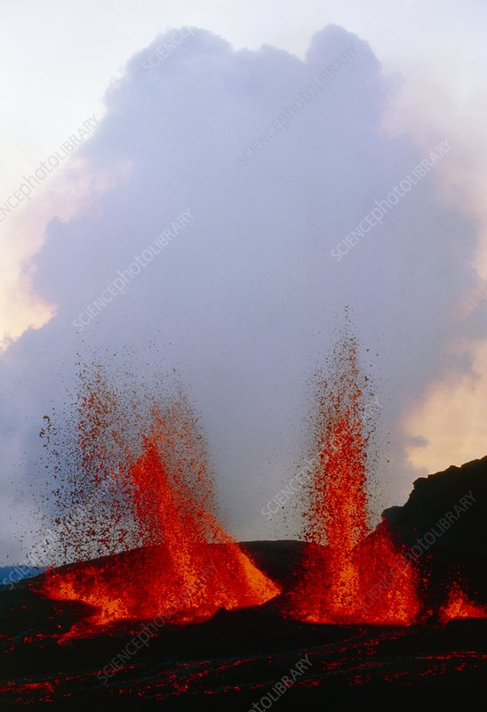 Lava fountains on Piton de la Fournaise volcano