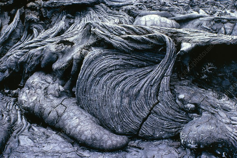 Folded formations of cooled lava