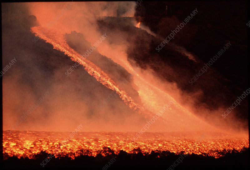 River of molten lava from Mt Etna at night