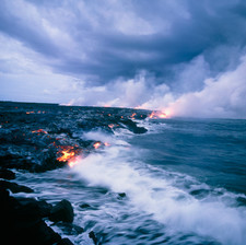Lava flow running into the sea off Hawaii