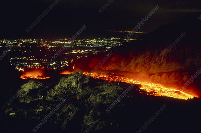 River of molten lava from Mt Etna approaching town