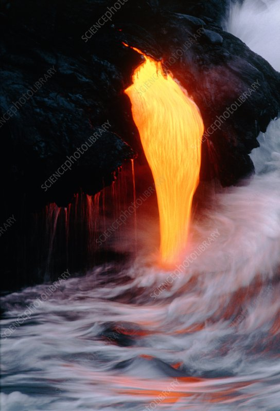 Lava tube emptying into the sea off Hawaii