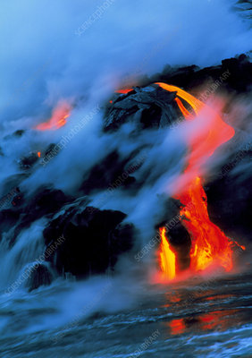 Molten pahoehoe lava flowing into the ocean