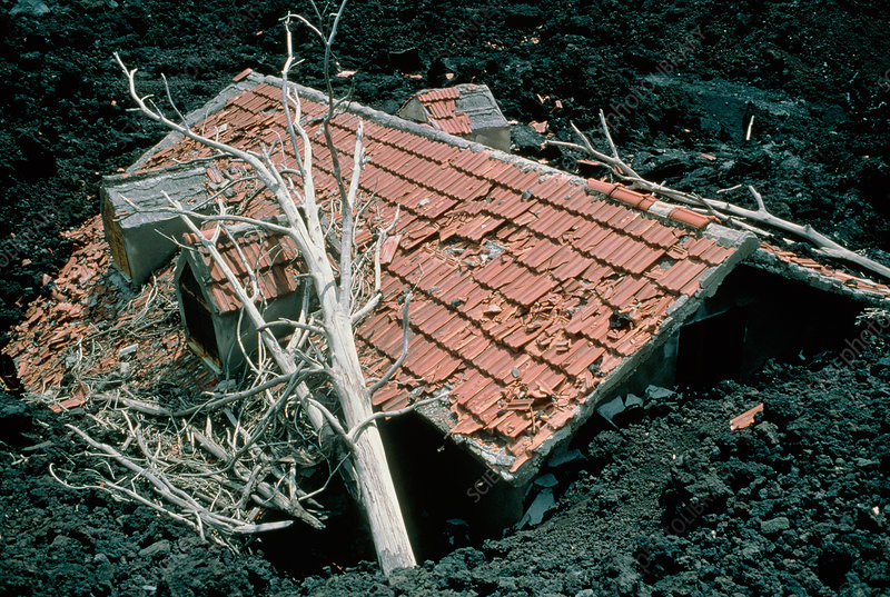 House and lava flow
