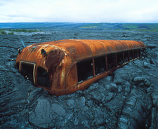 Bus and lava flow