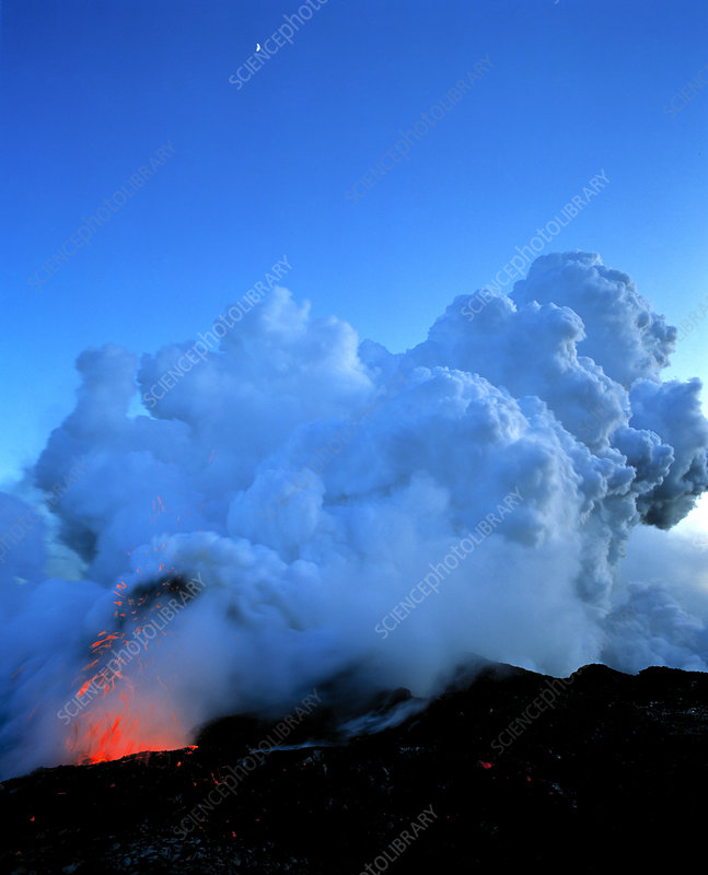 Lava and steam clouds