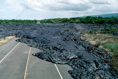 Solidified volcanic lava flow
