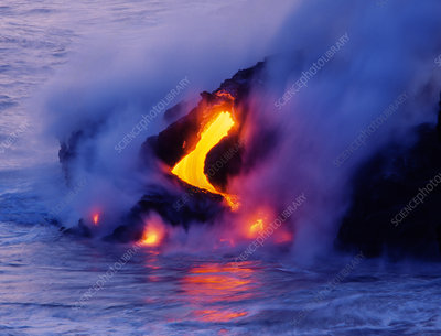 'Lava flowing into the ocean, Hawaii'