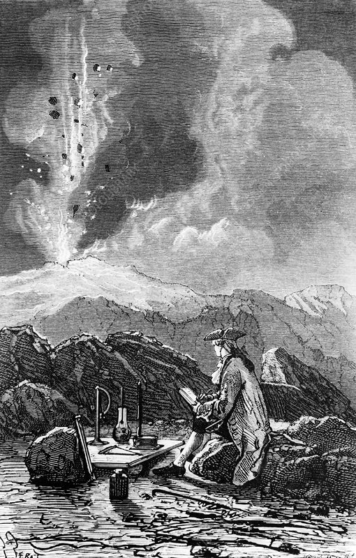 Engraving of Mt Etna being observed by Spallanzani