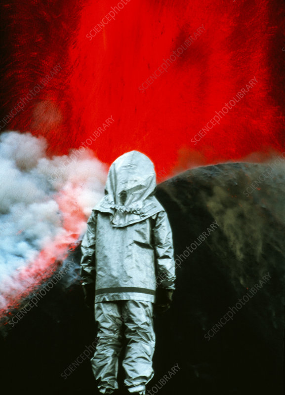 Volcanologist by Mount Etna eruption