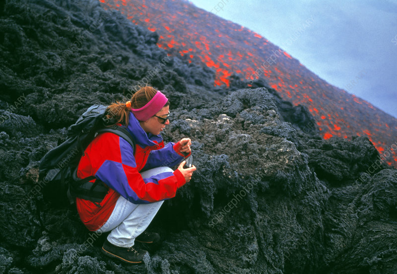 Volcanologist by lava flow