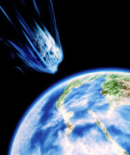 Artwork of K/T asteroid approaching Earth