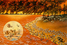 Artwork of the Permian mass extinction of life