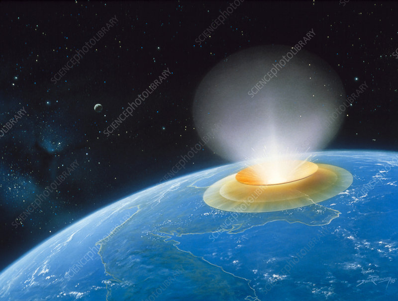 Artwork showing Chicxulub impact event
