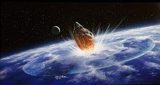Artwork showing an asteroid colliding with Earth