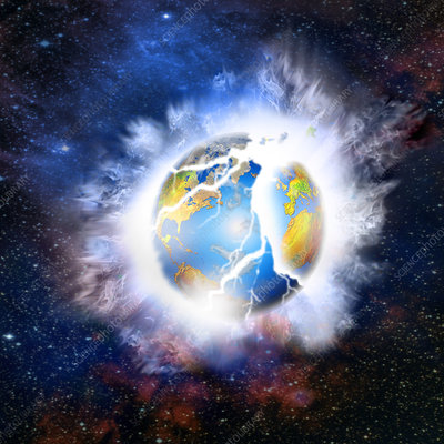 Illustration of the Earth Exploding