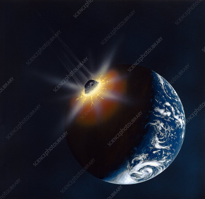 Asteroid impacting the Earth, artwork
