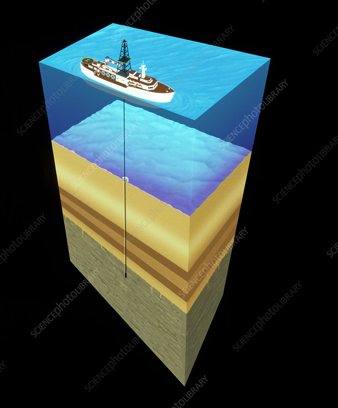 Artwork of a geological research drilling ship