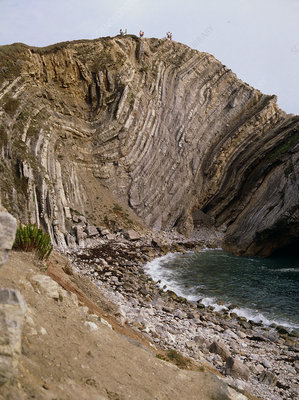 Folded strata in Stair Hole cliffs, Dorset