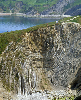 Folded strata in Stair Hole cliffs Dorset