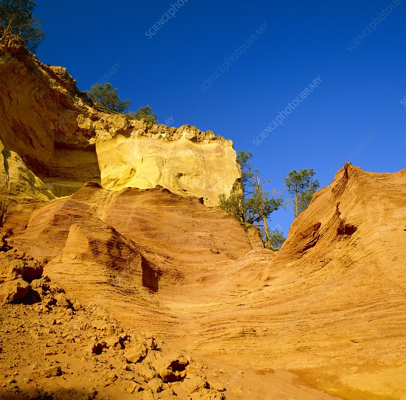 Exposed sandstone ochre formation, France