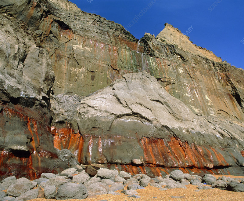 Sandstone cliff with limonite stain leaching out
