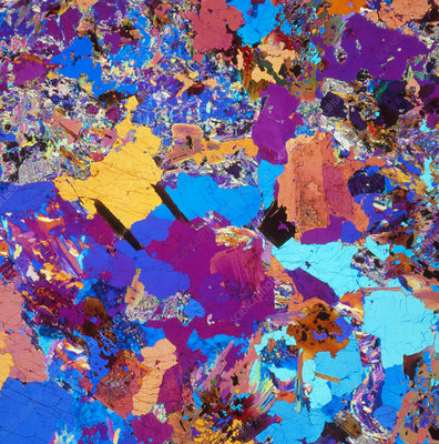 Polarised LM of thin section of granite