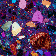 Polarised LM of a thin section of quartz porphyry