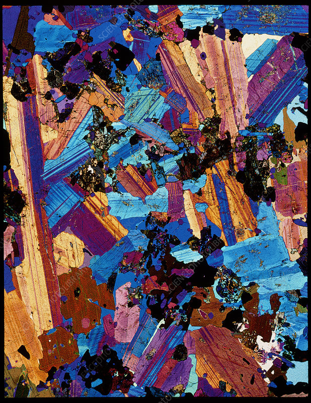Polarised LM of a thin section of Eucrite (gabbro)