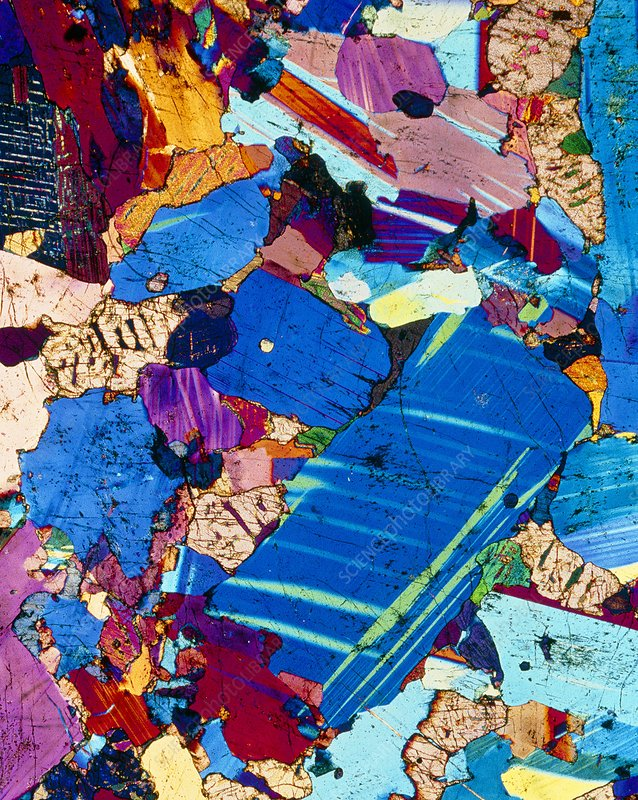 Polarised LM of a thin section of gabbro rock