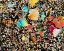 Polarised LM of granite in thin section