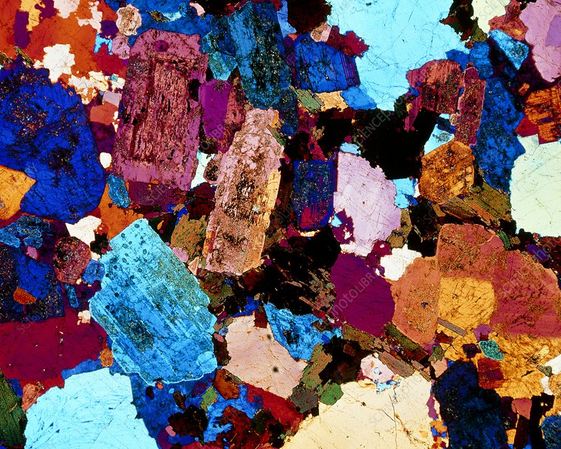 Polarised LM of grain diorite in thin section