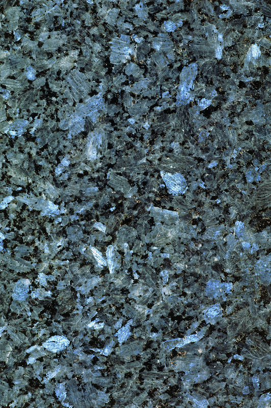 Polished surface of Alaskan blue pearl granite