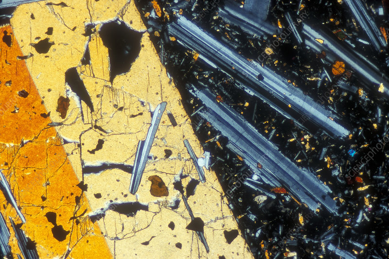 Basalt rock crystals, light micrograph