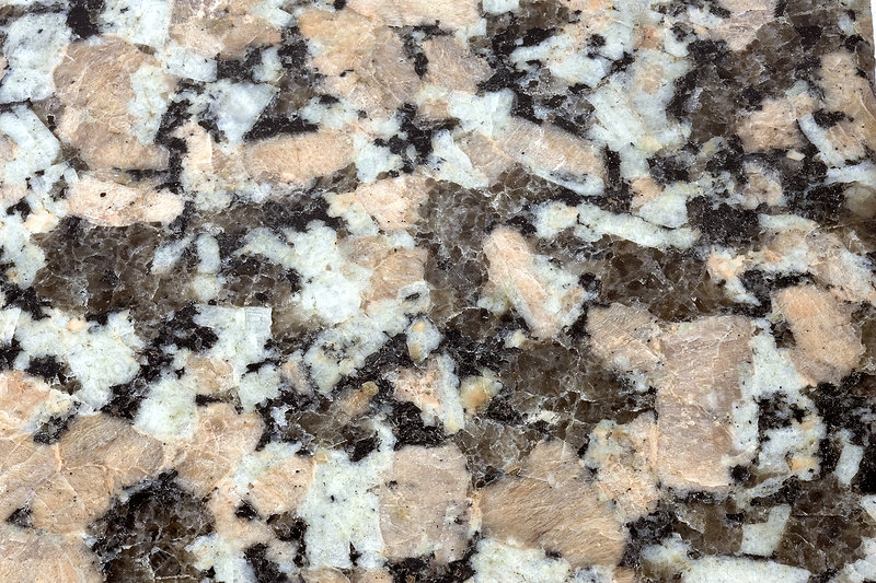 Polished porphyritic granite surface