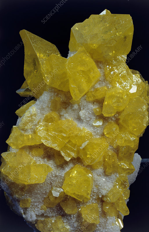 Yellow sulphur crystals