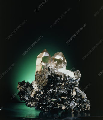 Quartz and green tourmaline crystals