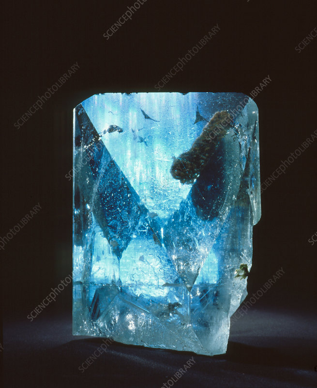 Crystal of blue topaz
