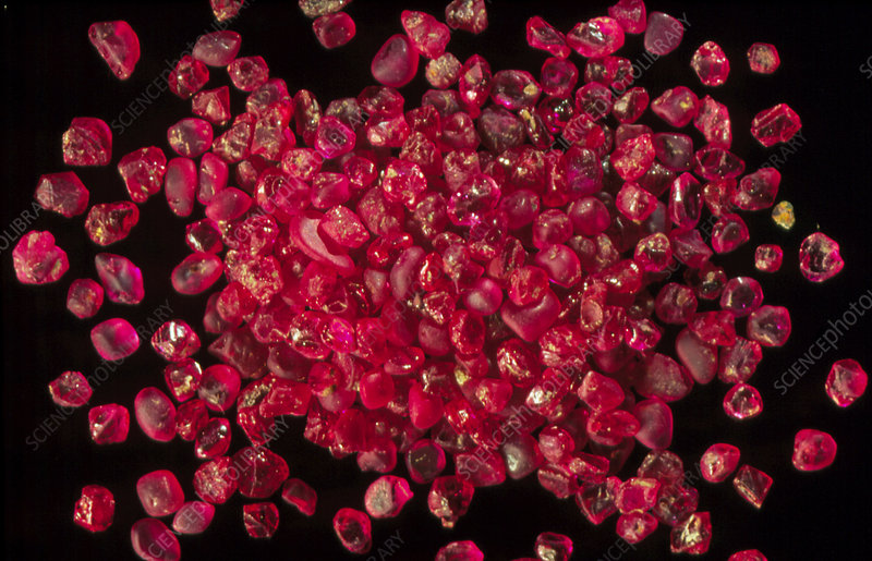 Rubies panned from river gravels