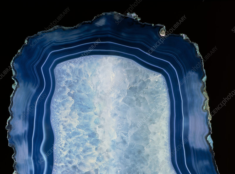 Cross section of blue agate, a type of chalcedony
