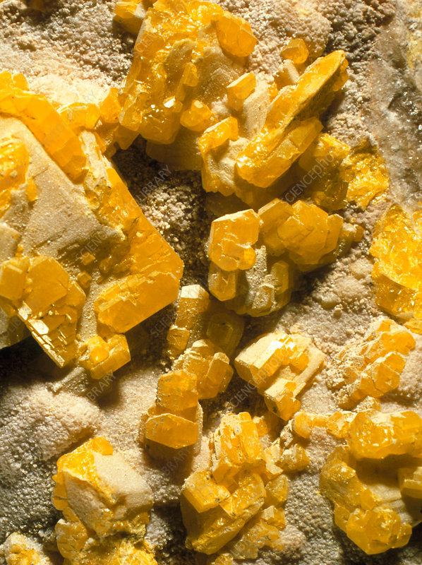 Yellow crystals of sulphur