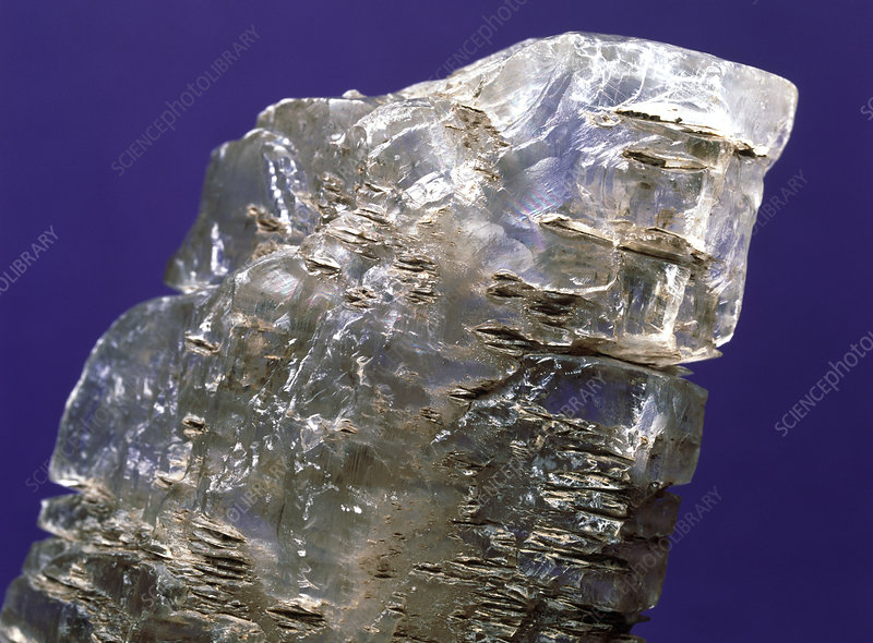 View of a sample of selenite, a form of gypsum