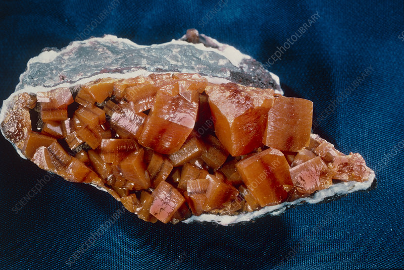 View of crystals of the mineral wulfenite