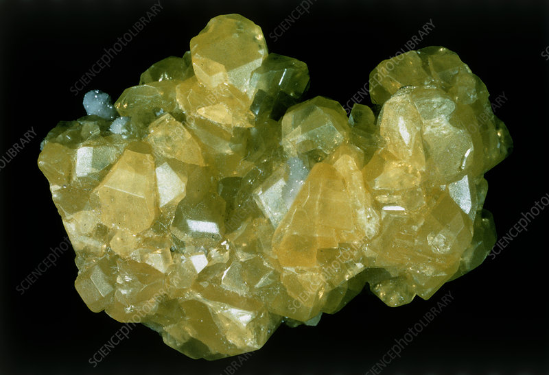 View of yellow crystals of sulphur