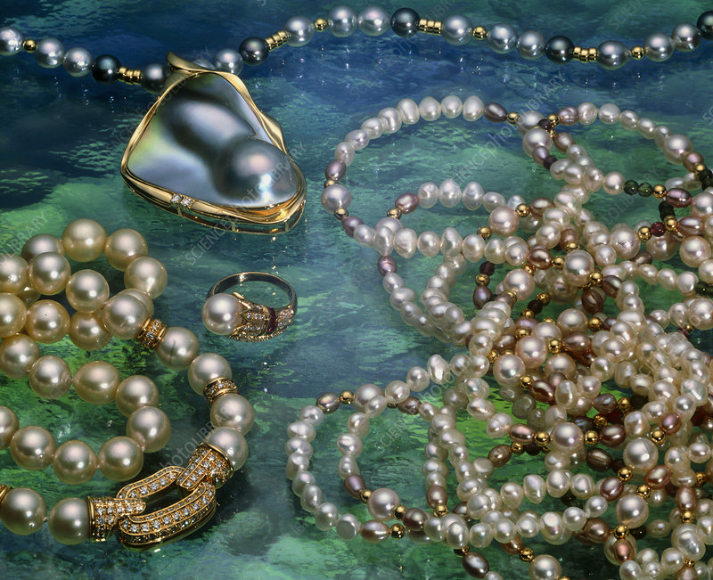 View of an assortment of pearl jewellery