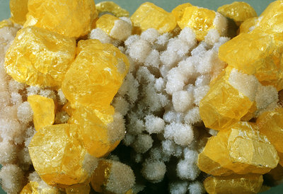 Crystals of native sulphur