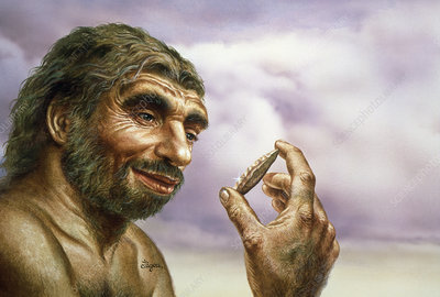 Neanderthal man holding stone tool